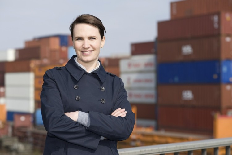 Businesswoman in harbour